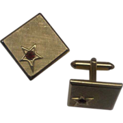 Swank Square Gold Toned Ruby Red Rhinestone Star Cuff LInks