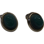 REDUCED Green Carved Scarab Gold Tone Clip Earrings