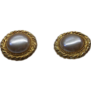 REDUCED Faux Pearl Chunky Disc Clip Earrings Rope Edge