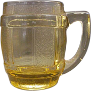SOLD Amber Glass Barrel Mug Stein Mini Toothpick Shot