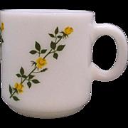 REDUCED Hazel Atlas Yellow Roses Climbing Milk Glass Mug