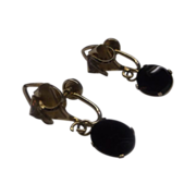 REDUCED Black Oval Dangle DCE Screwback Earrings 14K Gold Filled