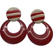 Red Cream Enamel Stripe Hoop Earrings Large Dangles