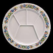 REDUCED Kenro Heavy Melmac Divided Grill Fondue Plate Bird Floral Rim