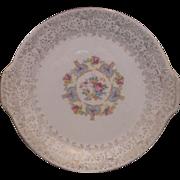 REDUCED Vanity Fair Mary Dunbar 22K Floral Tab Handle Cake Plate