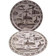 REDUCED Fort Riley Kansas Brown Souvenir Plates Vernon Kilns