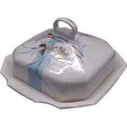 REDUCED Hand Painted Covered Butter Cheese Dish Porcelain