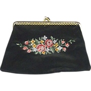REDUCED Petit Point Roses Black Coin Purse