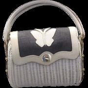 REDUCED Wicker Denim Leather Butterfly Summer Handbag