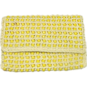 REDUCED Walborg Yellow Beaded Raffia Clutch Purse