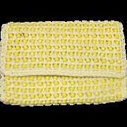 REDUCED Walborg Yellow Beaded Raffia Clutch Purse
