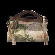 REDUCED Early Relic Floral Canvas Leather Medium Crossbody Satchel Handbag