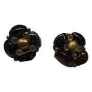 Hobe Black Gold Art Glass Bead Earrings Clips