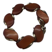 REDUCED Lisner Rust Red Moonglow Lucite Thermoset Bracelet Gold Tone