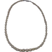 REDUCED Carved Tulip Beads Mother of Pearl Cream Necklace
