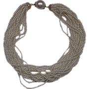 REDUCED Faux Pearl Torsade Necklace Choker 15 Strand