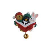 REDUCED Jingle Bells Christmas Plastic Hallmark Figural Pin Penguin Rabbit Bear