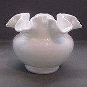Fenton White Milk Glass Double Crimped Small Vase