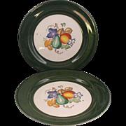 Homer Laughlin Nautilus Green Rim Fruit Center Plates