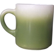 SOLD Hazel Atlas Dark Green Fade Milk Glass Mug