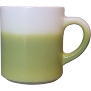 SOLD Hazel Atlas Lime Acid Green Fade Milk Glass Mug