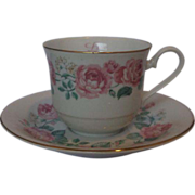 Pink Roses Cup Saucer Love is Sharing Summit Collection