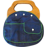 SOLD Navy Blue Green Trim Bermuda Bag Wood Handle Front Pocket - Red Tag Sale Item