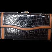 REDUCED Black Faux Alligator Patent Vinyl Wallet Brown Trim Hong Kong