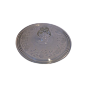Pyrex Clear Glass Spray Engraved Cut Floral Lid Early