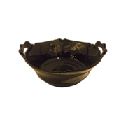 REDUCED Mt Pleasant Black Glass Double Handle Bowl Silver Floral Overlay