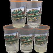 Salzburg Austria Hand Painted Enamel Juice Glasses Set of 5