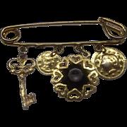 Charm Pin Gold Tone Coins Black Rhinestone