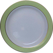 SOLD Pyrex Lime Green Rim Gold Trim Chop Plate Round Platter