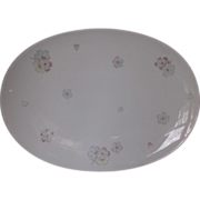 Johann Haviland Oval Platter Pink Yellow Grey Flowers Coupe Shape