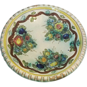 REDUCED Floral Hand Painted Incised Hand Made Italy Bowl