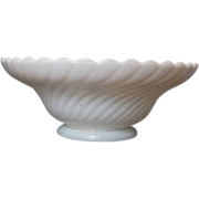 SOLD White Milk Glass Swirl Footed Bowl Scalloped Rim