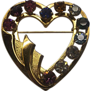 Van Dell Heart Shaped Rhinestone Pin 1/20 12 Kt Gold Filled