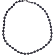 "Black Glass Faceted Bead Necklace 20"" Single Strand"