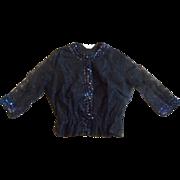 Rhoda Lee Black Lace Blouse Iridescent Sequins
