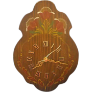 Folk Art Hand Painted Wood Wall Clock Rose Tanasichuk
