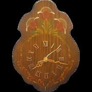 REDUCED Folk Art Hand Painted Wood Wall Clock Rose Tanasichuk