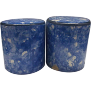 REDUCED Stangl Town & Country Blue Spongeware Salt Pepper Shakers