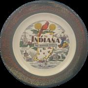 SOLD Indiana Souvenir Plate Homer Laughlin Green Rim 22KT Gold