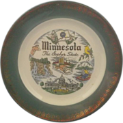 Minnesota State Souvenir Plate Green Rim 22KT Gold Trim