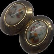 SALE Bergere Easter Egg Speckled White Oval Earrings