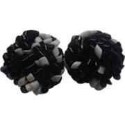 SALE Black White Czech Glass Tube Bead Knot Earrings