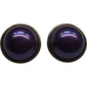 Purple Faux Pearl Earrings Chunky Large Domed Cabs