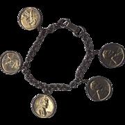 Penny Charm Bracelet 1960s Silver Tone