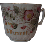 Porcelain Shaving Mug Hand Painted Enameled A Present Gold Trim