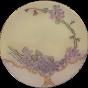 Hand Painted Purple Flowers Salad Plate Thomas Sevres Bavaria Artist Signed